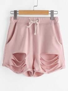 Shorts Taille mit gebrochenen Schnur - pink