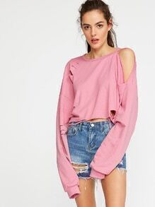 Cutout Shoulder Distressed Oversized Sweatshirt