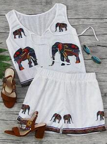 Elephant Print Tank Top With Shorts