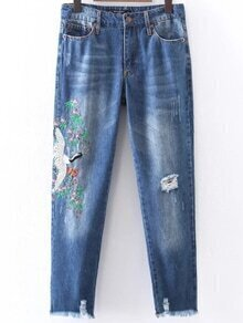 Embroidery Ripper Detail Boyfriend Jeans