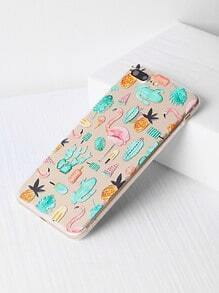 Flamingo And Plant Print iPhone 7 Plus Case