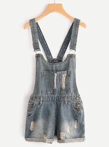 Rissierte Cuffed Overall Denim Shorts
