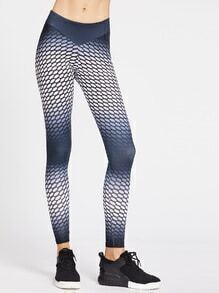 Ombre Textured Dots Print Gym Leggings