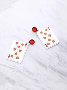 Poker Card geformt baumeln Ohrringe
