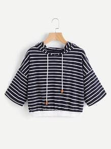 Drop Shoulder Contrast Striped Hoodie