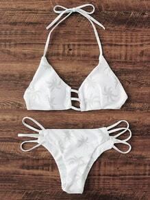 Palme Druck Leiter Ausschnitt Bikini Set