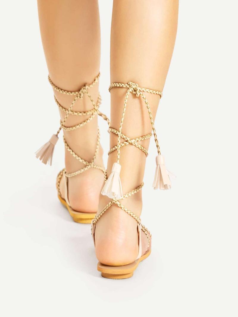 Sandalias Con Cordón Trenzadas Planas Tiras bfY6myI7gv