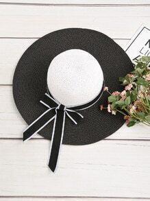 Sombrero con cordón de lazo en dos tonos