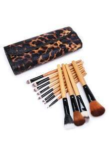 Delicate Brush Set With Leopard Bag