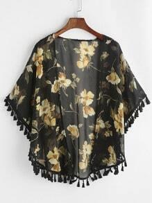 Black Floral Print Fringe Hem Chiffon Kimono