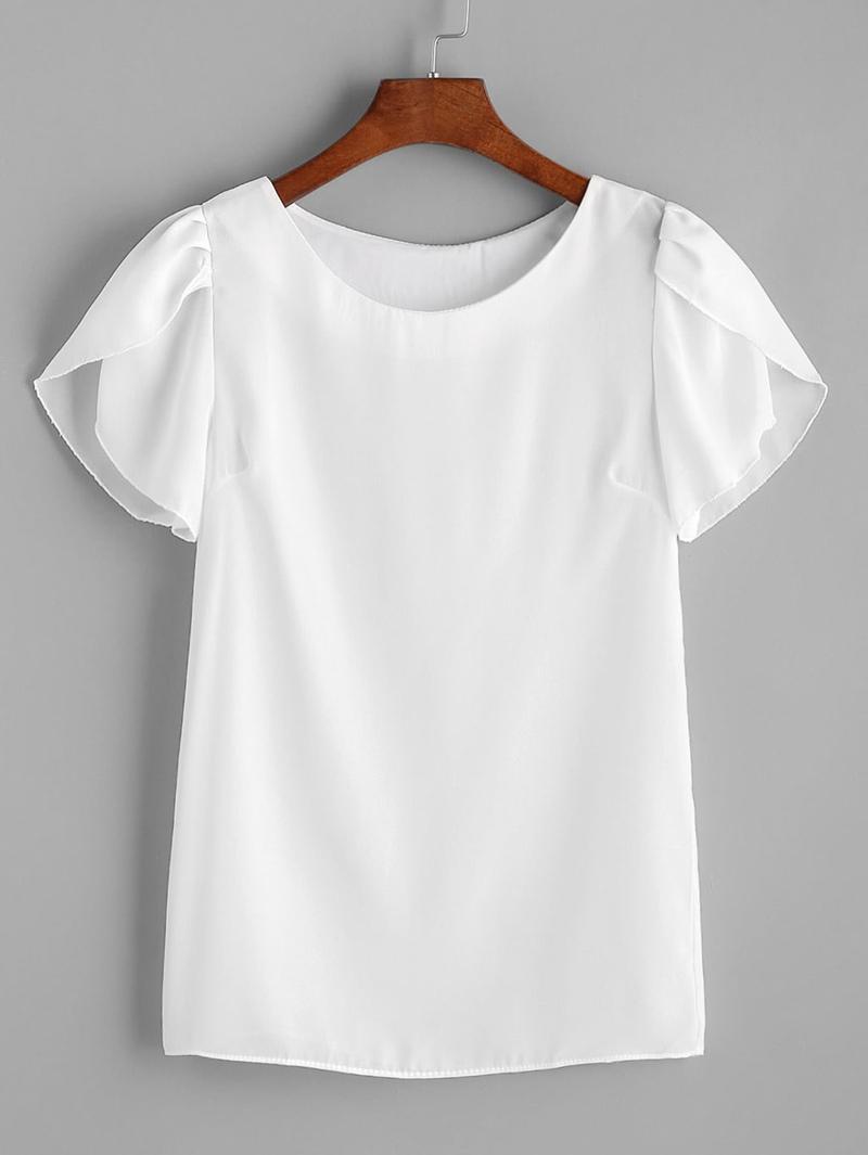 ad9d89c9d Blusa plisada de chifón de mangas japonesas - blanco
