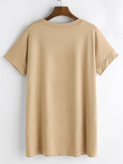Apricot Short Sleeve Dip Hem T-shirt