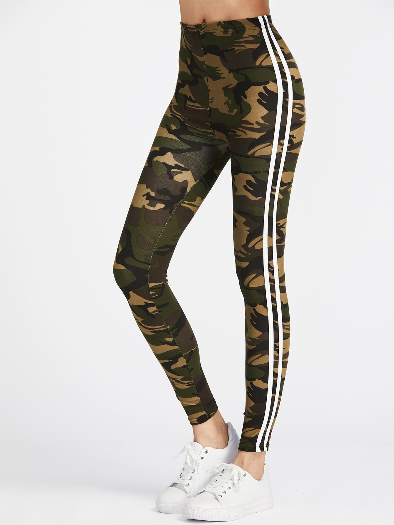 Print Romwe Striped Side Leggings Camo