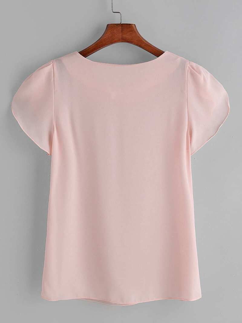 4dd8f1870a45 Blusa de chifón plisada de manga japonesa - rosa | ROMWE
