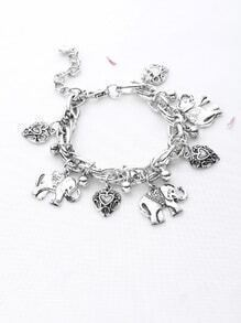 Elephant And Flower Carved Heart Shaped Link Bracelet