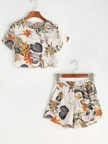 Tropical Print Keyhole Back Top With Shorts