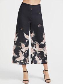 Pantalons anchos con estampado de grulla - negro