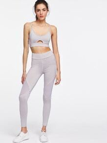 Cut Out Front Cami Top With Mesh Paneled Leggings