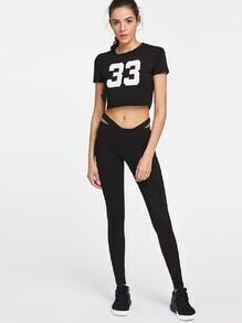 Number Print Crop Tee With Cut Out Waist Leggings