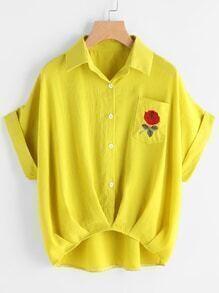 Cuffed Rose Besticktes Dip Hem Hemd mit Brusttasche