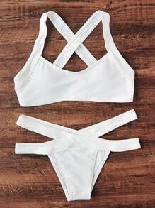 Cross Back Side Ausschnitt Bikini Set