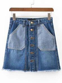 Contrast Pocket A Line Denim Skirt