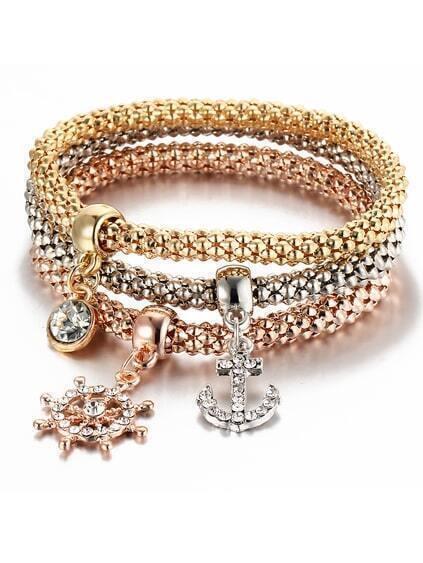 Anchor And Rhinestone Charm Bracelet Set