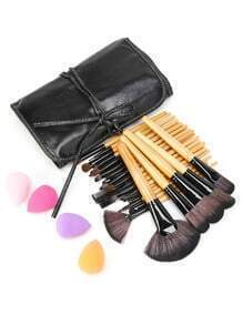 Fan Shaped Professional Brush Set With Bag And Puff