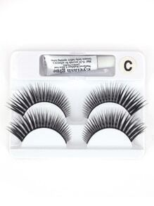 Thick False Eyelashes 2 Pair With Glue