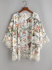 Flower Print Crochet Trim Kimono