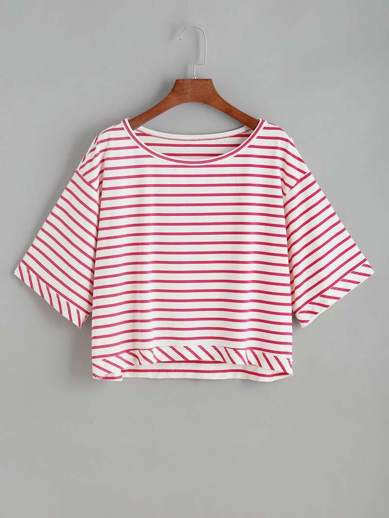 Blanco Rojo De Rayas Camiseta Con Hombros Caídos RL3Aj54cqS