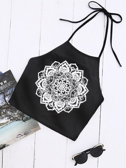 Mandala Print Halter Neck Top