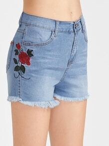 Embroidered Side Frayed Hem Denim Shorts