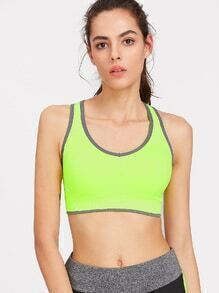 Contrast Trim Cut Out Back Sports Bra