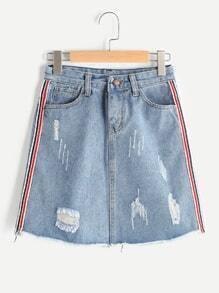Destroyed Fray Hem A Line Skirt With Side Stripe