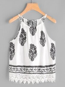 Graphic Print Self Tie Rückseite Lace Hem Cami Top