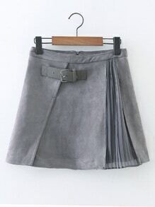 Contrast Chiffon Suede A Line Skirt