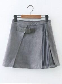 Falda línea A de ante contraste de gasa