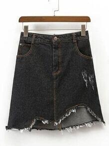 Asymmetrical Hem Denim Skirt
