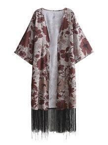 Open Front Floral Fringe Hem Longline Kimono