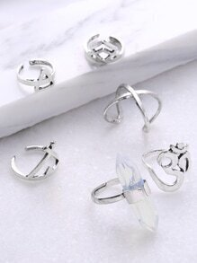 Multi Shaped Cuff Ring Set