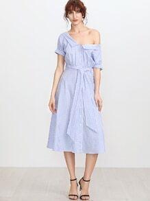 Blue Gingham - Kleid mit doppeltem V-Ausschnitt