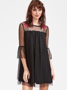 Schwarz gestickte Rose Applique Dotted Mesh Overlay schlichten Ärmel Kleid