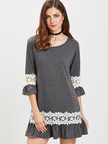 Heather grey kontrast gehäkelt Appliques ruffle hemdkleid