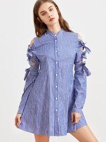 Gestreiftes Hemd Kleid Hemd mit Krawatte - blau