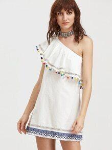 Eine Schulter Kleid mit gesticktem Detail Band und Pompons - White