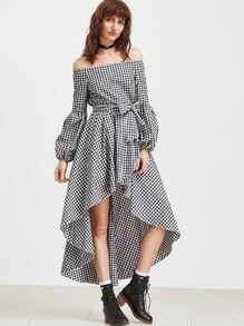 Schulter asymmetrische Kleid mit Luft - schwarz weiß