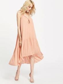 asymmetrische Kleid mit Öffnung an der Vorderseite - Pink