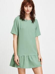 Grünes Reißverschluss-Rückseiten-Taillen-Kleid
