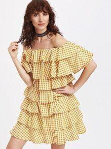 Kleid mit Schulter Luft und Flyer - Gelb